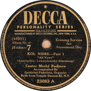 Decca Record Label (1939) of Federlein accompanying Cantor Rudinow at Temple Emanu-El