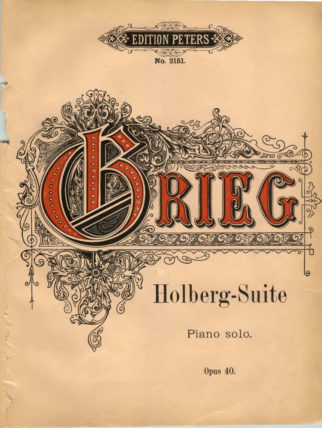 Peters edition of Grieg's From Holberg's Time