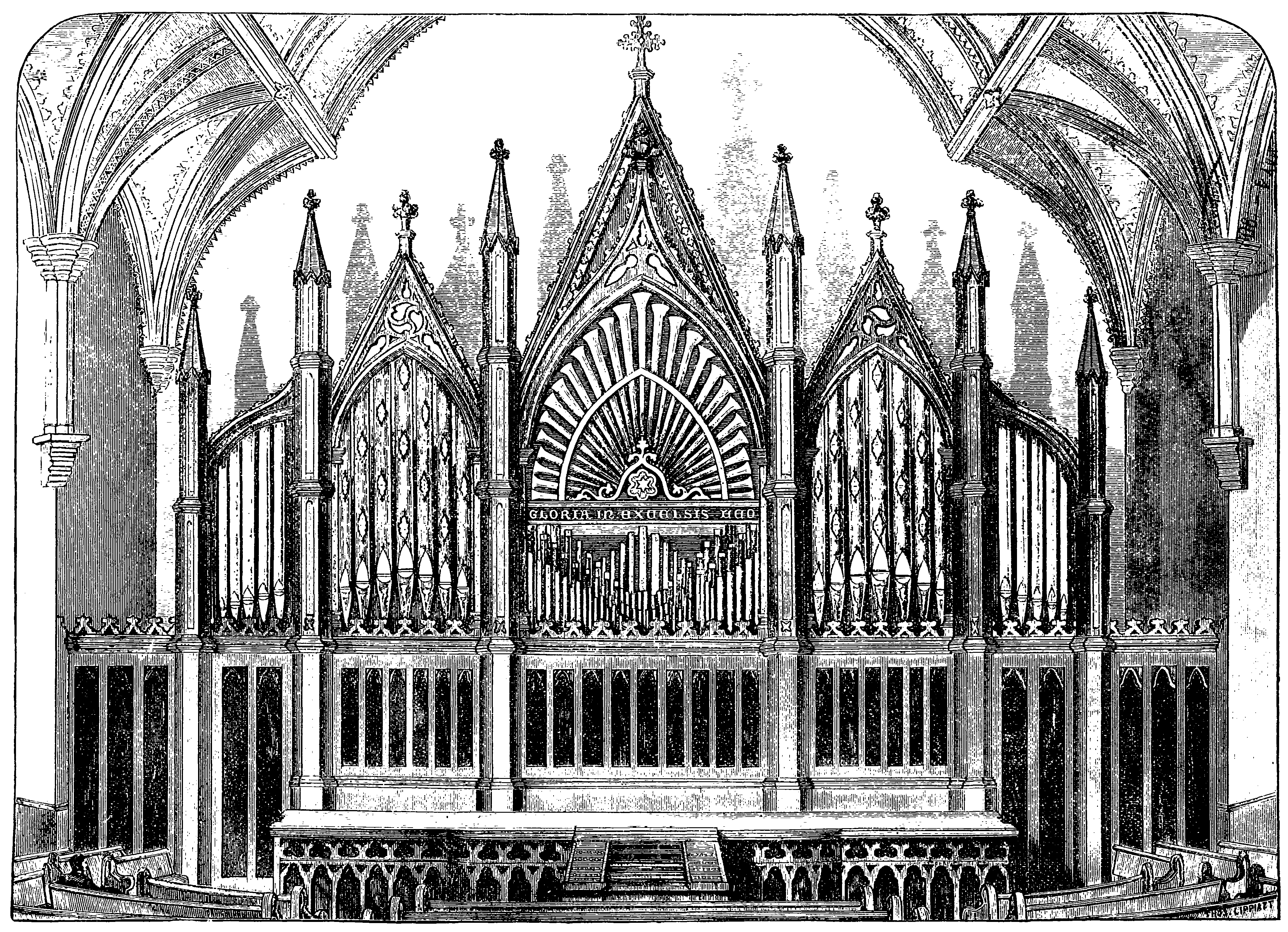 Jardine Organ from 1873 in the Brooklyn Temple, burned in 1889